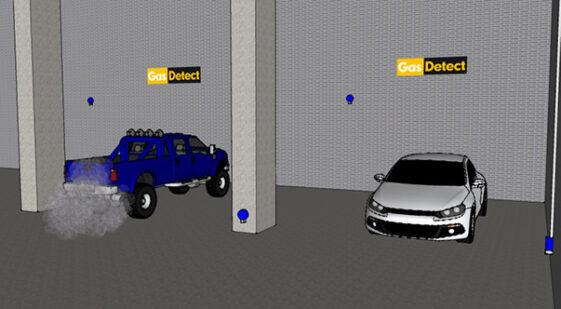 Gasdetektor til parkeringskælder - overvågning af udstøningsgasser og brændstofdampe